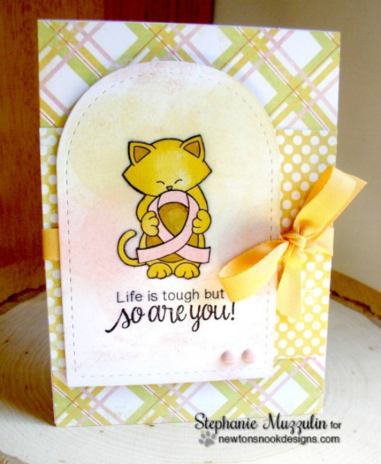 Kitty with pink Ribbon card by Stephanie Muzzulin |  Newton's Support stamp set by Newton's Nook Designs #newtonsnook