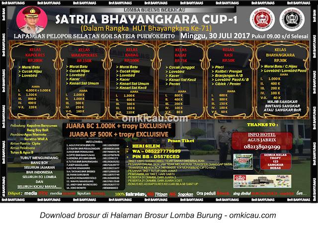 Lomba Burung Berkicau Satria Bhayangkara Cup-1, Purwokerto, 30 Juli 2017