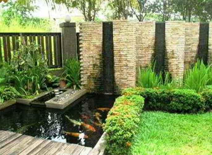 Contoh Desain Taman Minimalis Depan Rumah Dengan Kolam Ikan