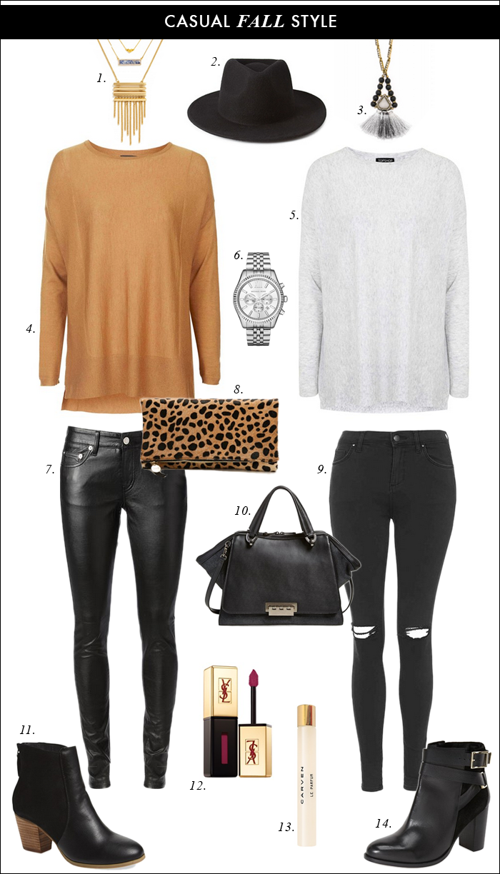 what to wear fall, skinny jeans, clare v. leopard, topshop, baublebar, zac posen