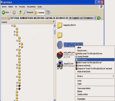 seleccionando el archivo a compactar dividido en volúmenes con el Winrar