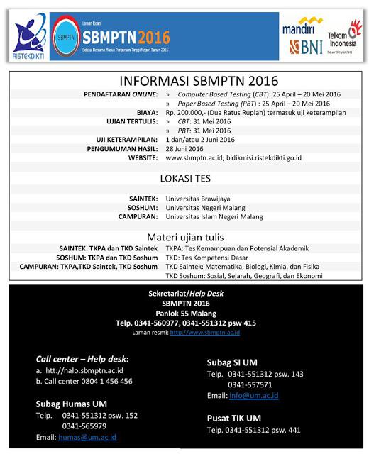 PDF File Jadwal SBMPTN 2016