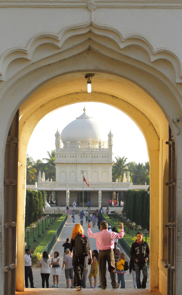 The beautiful view of Tipu Sultan's tomb Gumbaz as you enter the premises in Srirangapatna, Karnataka