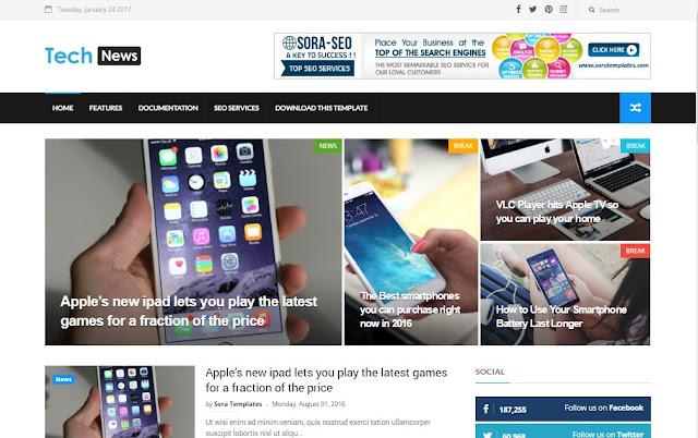 Free Tech News Blogger Template