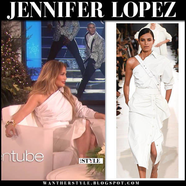 Jennifer Lopez in white one shoulder dress max mara holiday celebrity fashion november 29