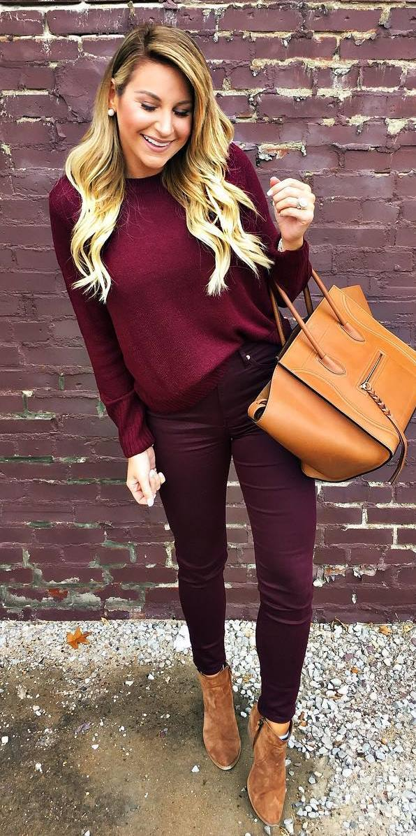 maroon and brown / sweater + skinnies + bag + boots