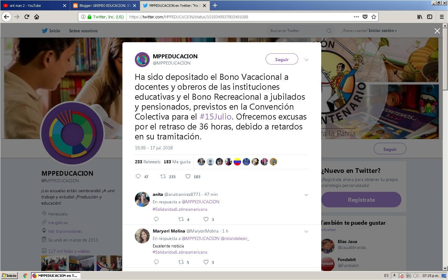Ha sido depositado el Bono Vacacional a docentes y obreros de las instituciones educativas y el Bono Recreacional a jubilados y pensionados