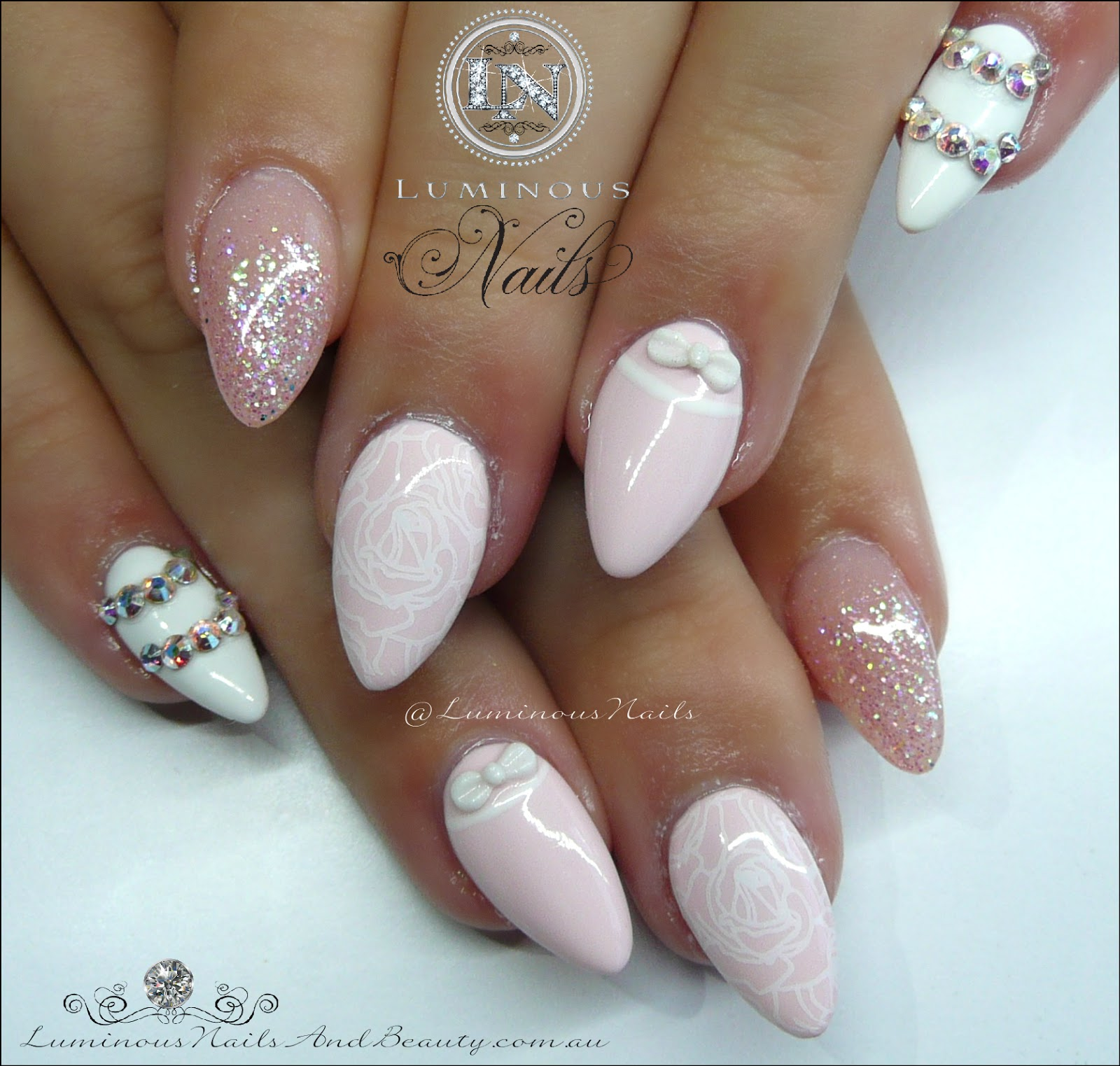 Baby Pink White Pretties Acrylic Gel Nails
