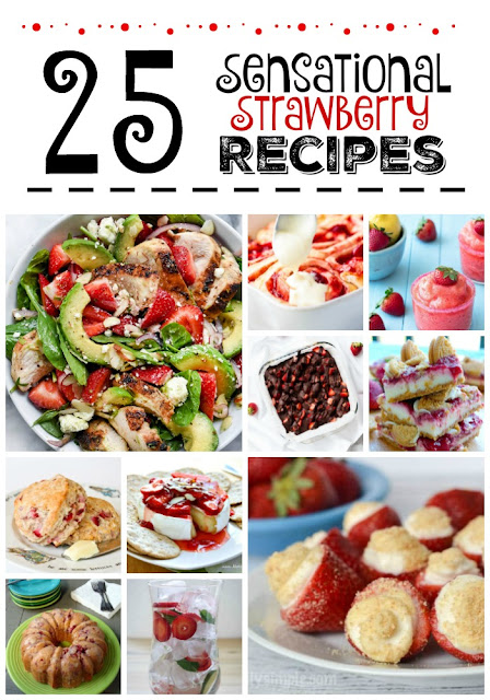 25 Sensational Strawberry Recipes...both sweet and savory!  Cakes, pies, bars, drinks, salads, brownies, tarts and more!  Save this post for strawberry season. (sweetandsavoryfood.com)