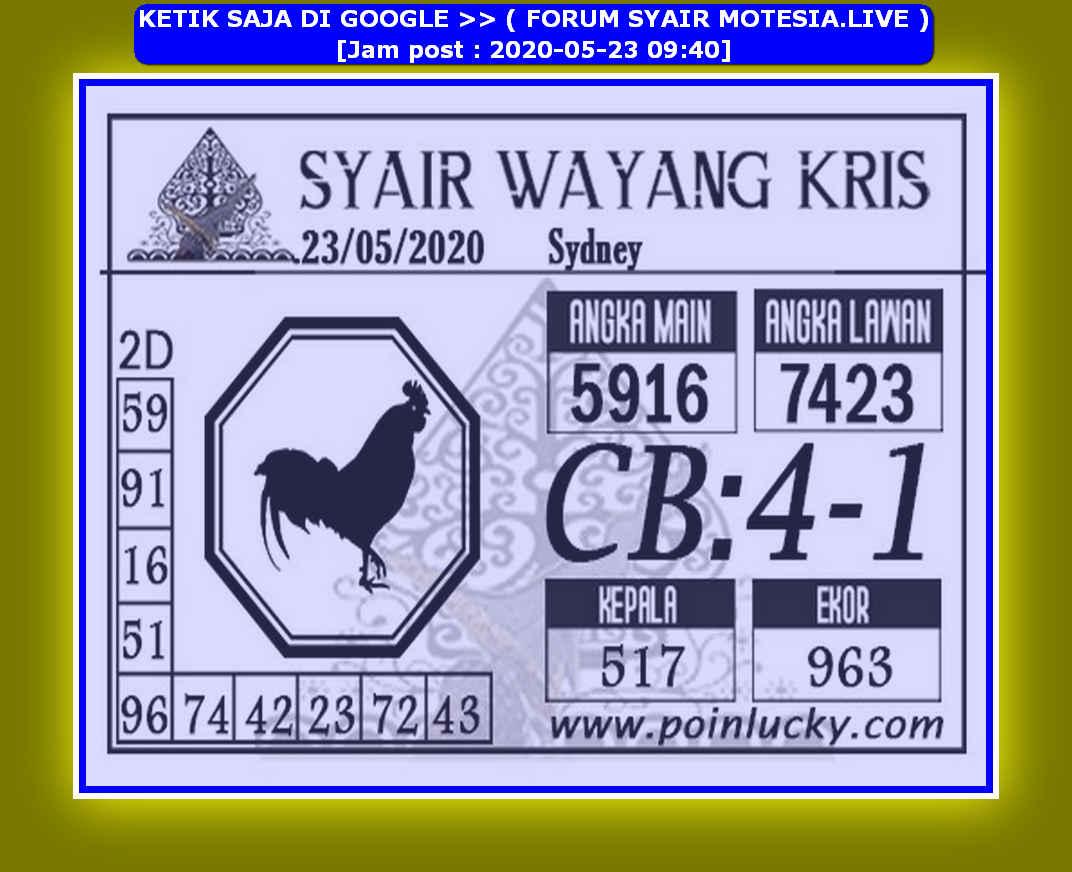 Kode syair Sydney Sabtu 23 Mei 2020 89