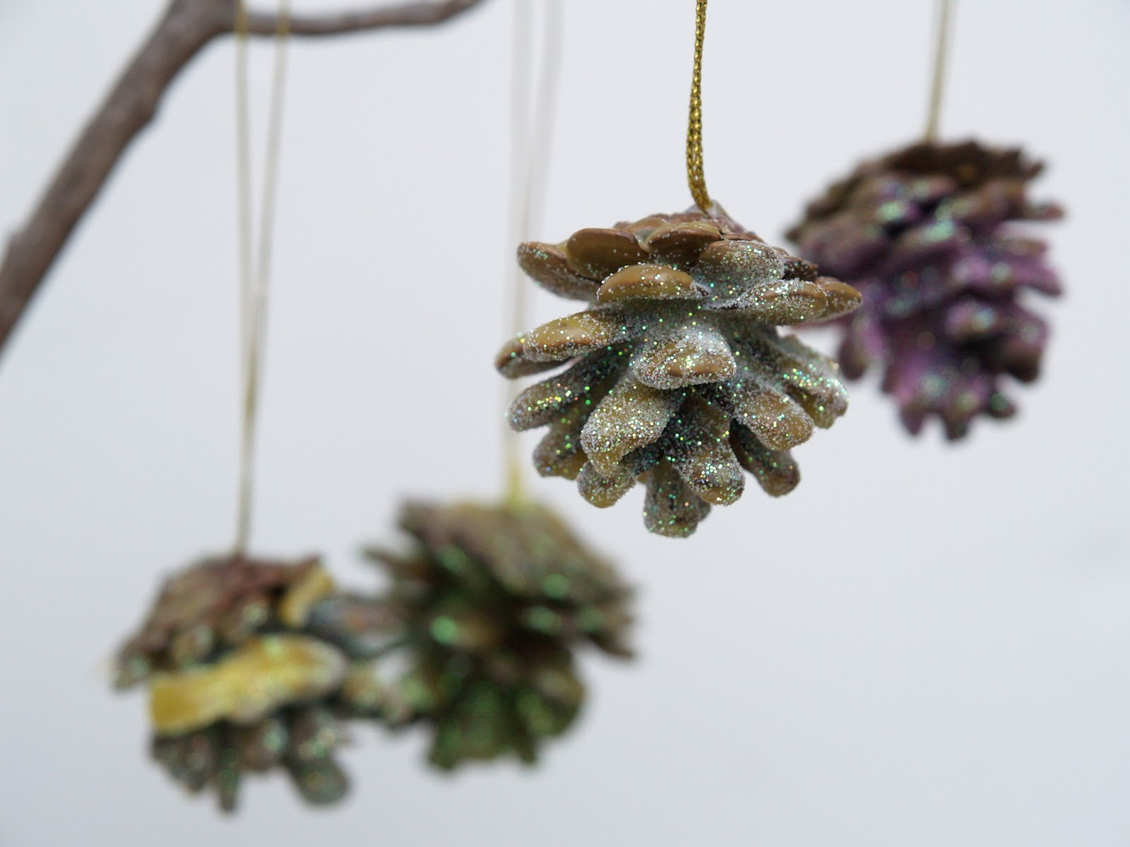 Glittered, Wax Dipped, Pinecone Christmas Ornaments