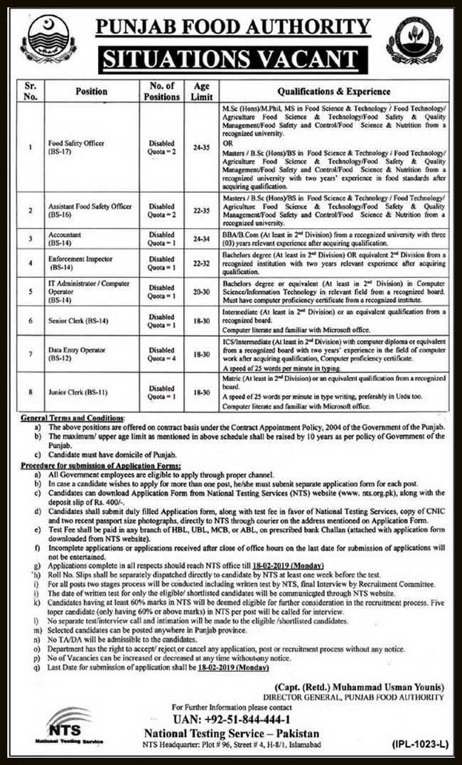 Latest NTS Jobs in Punjab Food Authority Jobs 2019 for