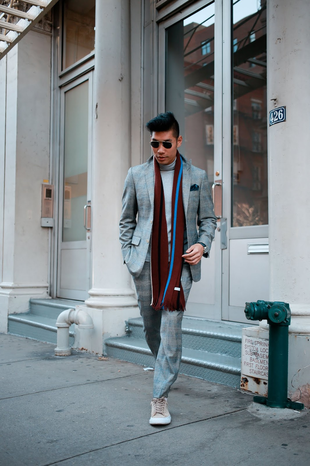 Leo Chan wearing Burgundy Scarf for Fall Look | Asian Male Model and Blogger