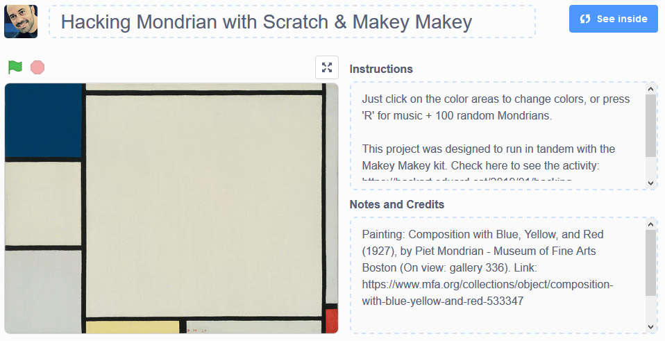 Hacking Mondrian with Scratch and Makey Makey ~ HackArt