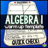 Algebra 1 Warm up template