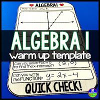 Algebra 1 Warm up template