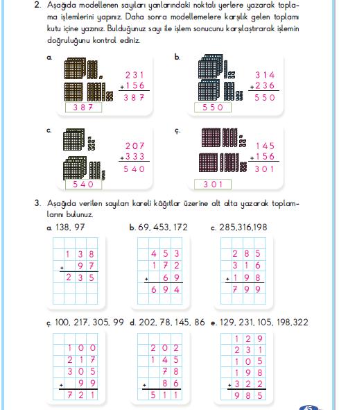 3. Sınıf Berkay Yayınları Matematik Çalışma Kitabı 45. Sayfa Cevapları Toplama İşlemi Yapalım 1. Çalışma