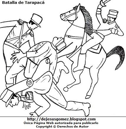 Dibujo de la Batalla de Tarapacá para colorear pintar e imprimir de Jesus Gómez