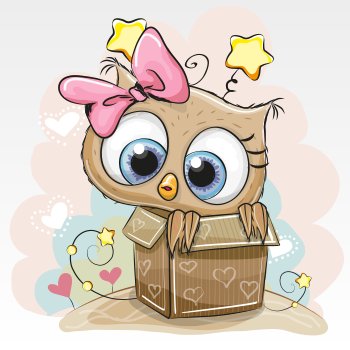 Cute owl in a box