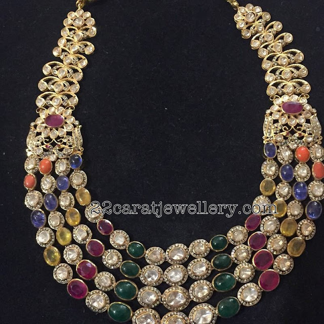 Navaratan Stone Multi Layer Necklace