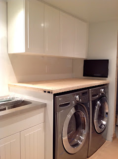 How To Install A Countertop Over A Washer And Dryer, DIY floating countertop in the laundry room, countertop cleat, countertop gable