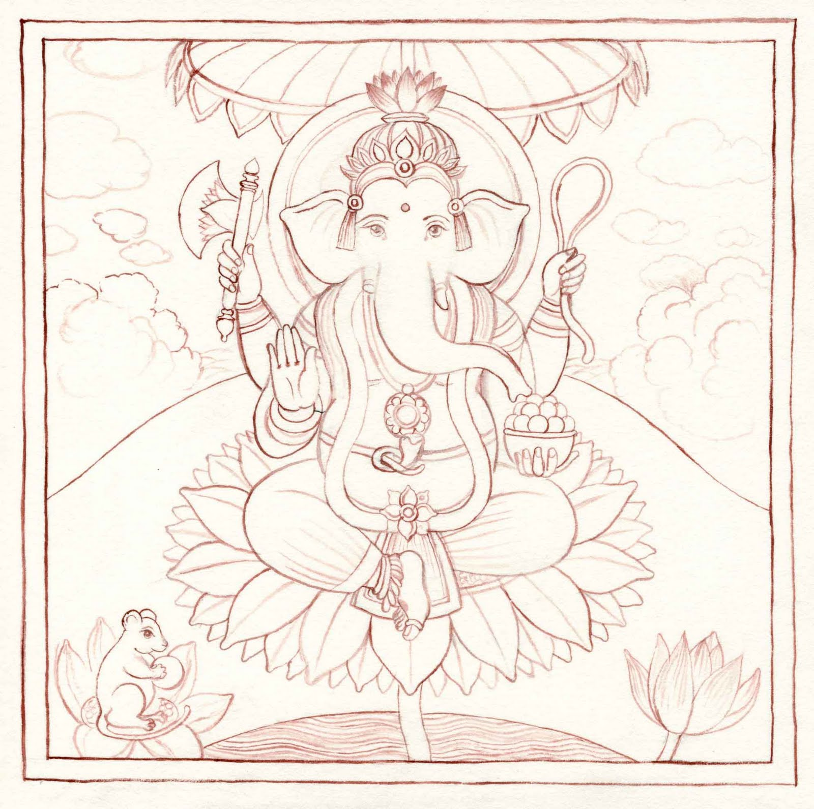 Indian Miniature Paintings: Outline Drawing