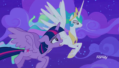 A remorseful Twilight and an angry Celestia fly from left to right through the purple night sky