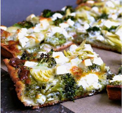 GREEN PIZZA WITH PESTO, FETA, ARTICHOKES, AND BROCCOLI #vegetarian