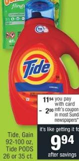 Tide, Gain 92-100 oz, Tide PODS 26 or 35 ct