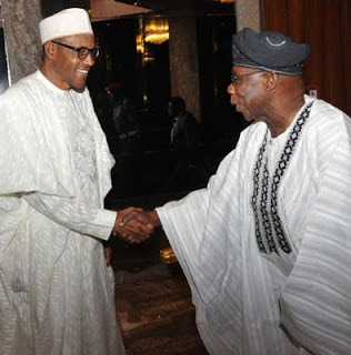 Buhari and Obasanjo exchanging pleasantry