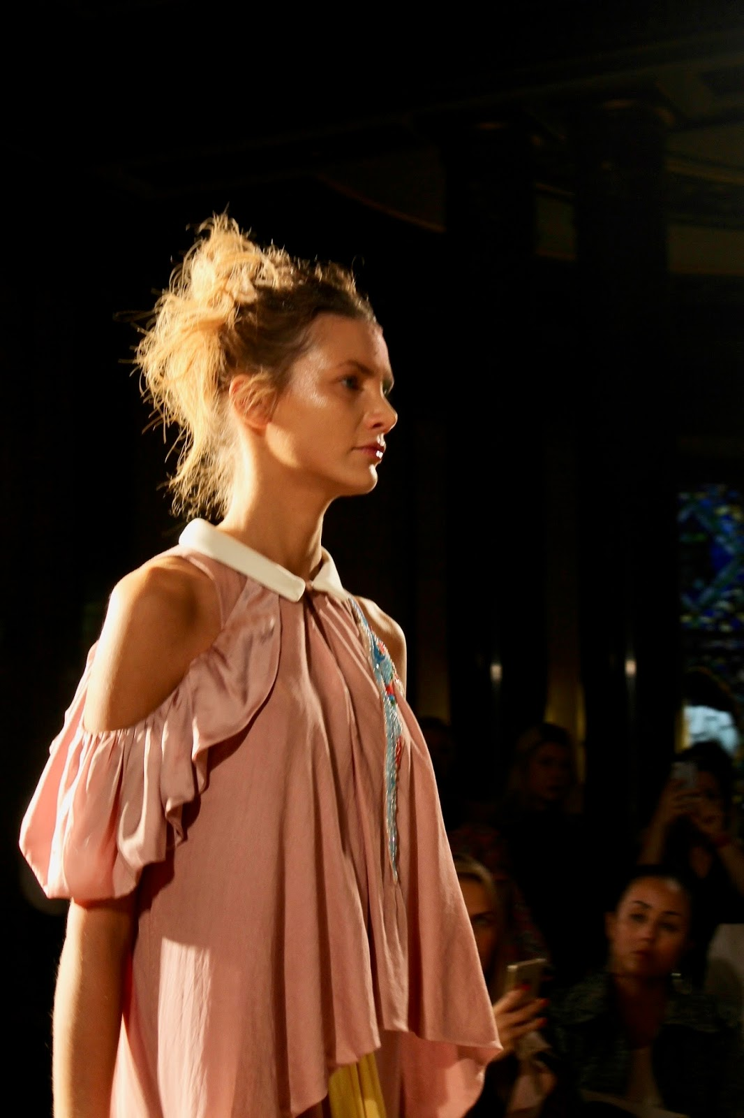 Loose Pink Ruffled Blouse London SS18