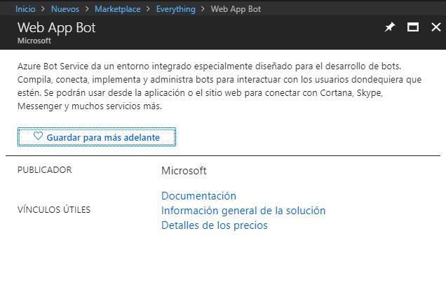 Figura 8: Servicio web app bot,