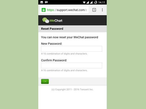 masukkan password baru wechat dan konfirmasi