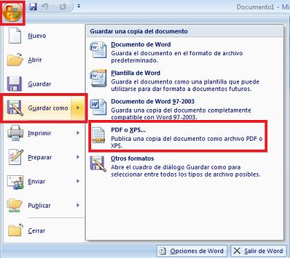 Convertir archivos de word 2003 a pdf