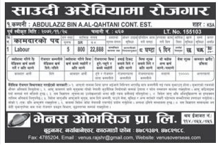 Job For Nepali In Saudi Arabia, Salary - Rs 22,888/