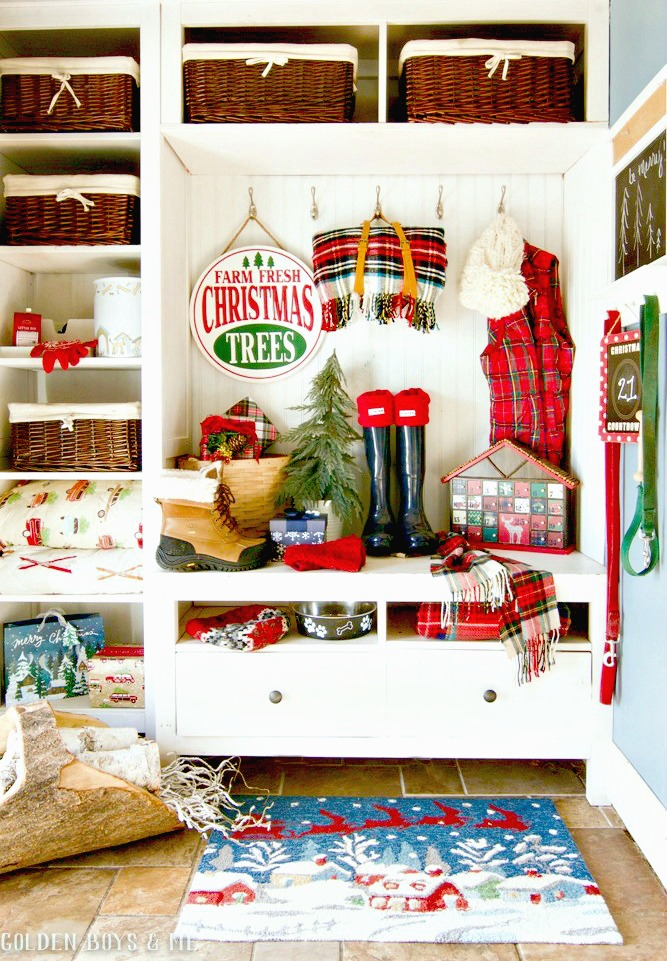 Mudroom with Tree Farm Holiday Decor - Golden Boys and Me Holiday Home Tour 2017