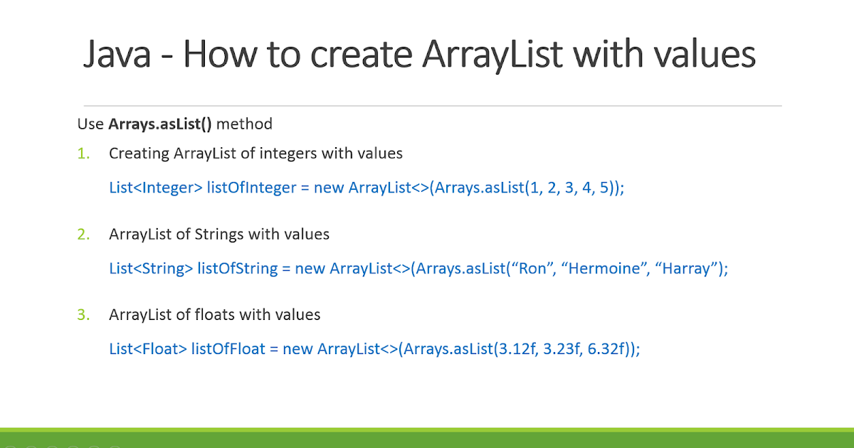 How to declare ArrayList with values in Java? Examples | Java67