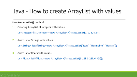How to declare ArrayList with values in Java