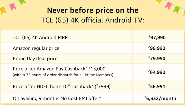 TCL 65 inches L65P2MUS 4K Android Smart TV @ ₹79,990 + ₹15000 Cashback As Amazon Gift Card   Offer Starts 17th July, 9AM