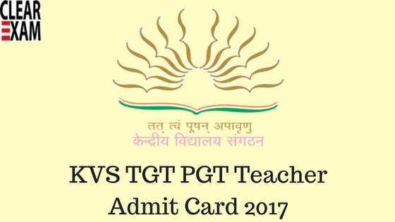 KVS TGT PGT Teacher Admit Card