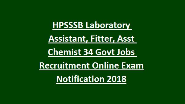 HPSSSB Laboratory Assistant, Publicity Assistant, Fitter