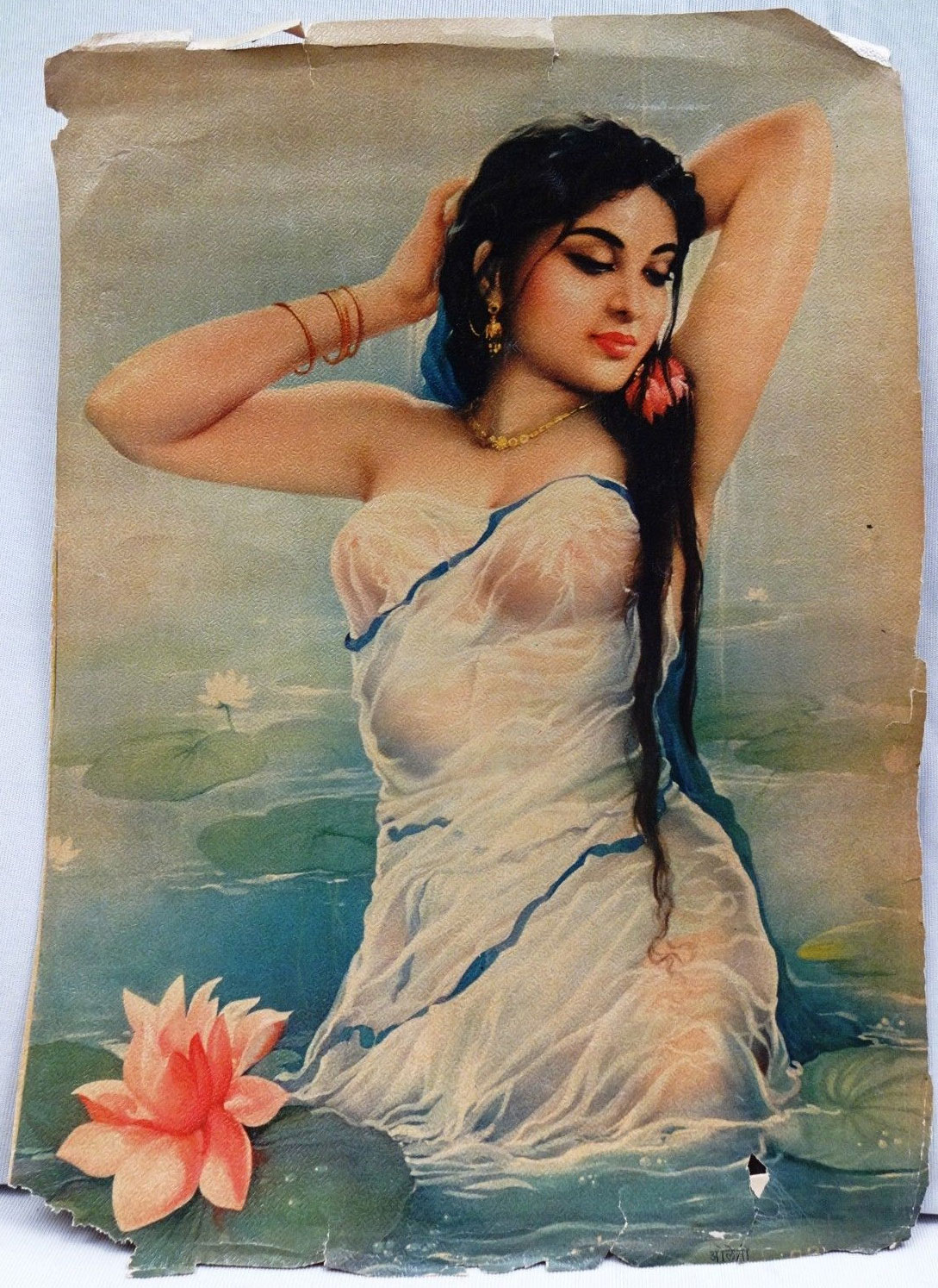 Indian Lady Taking Bath - Vintage Indian Lithograph Print