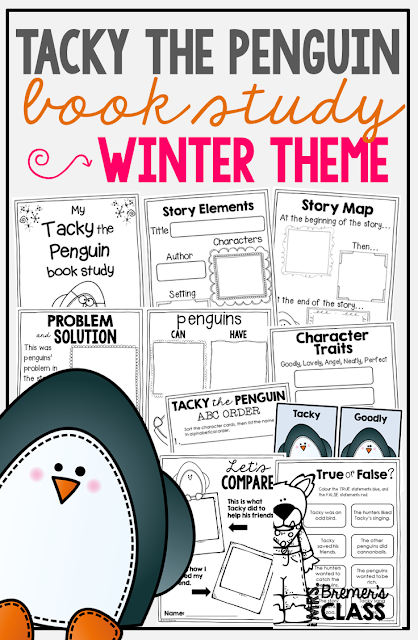 Tacky the Penguin book study companion activities. Perfect for a winter theme in the classroom! Packed with fun ideas and guided reading literacy activities. Common Core aligned. K-2. #tackythepenguin #winter #bookstudy #bookstudies #literacy #guidedreading #1stgrade #2ndgrade #kindergarten #bookcompanion #bookcompanions #1stgradereading #2ndgradereading #kindergartenreading #picturebookactivities #winterbooks