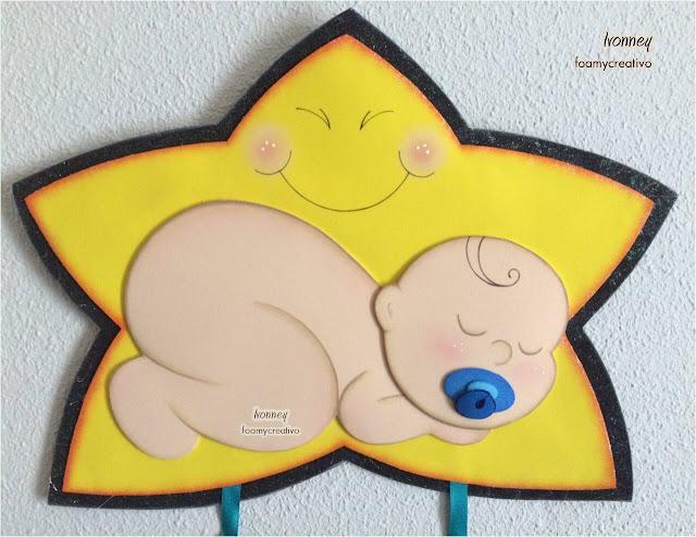 Cartel bebe en foami, niño en la estrella, foamycreativo