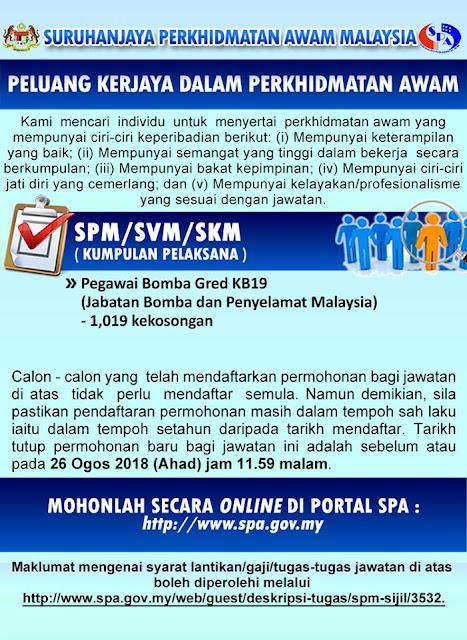 Iklan Kekosongan Jawatan di Jabatan Bomba dan Penyelamat Malaysia