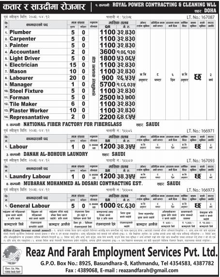 Jobs For Nepali In Qatar, Salary -Rs.1,86,035/