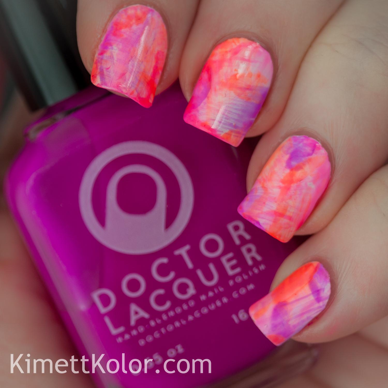 #whencolourscollide purple_organge_pink nail art KimettKolor