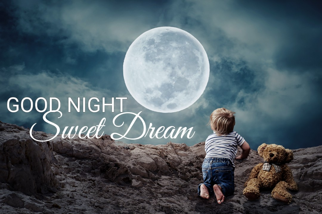 Cute Beautiful Good Night Wish With Full Moon Teddy Wallpaper
