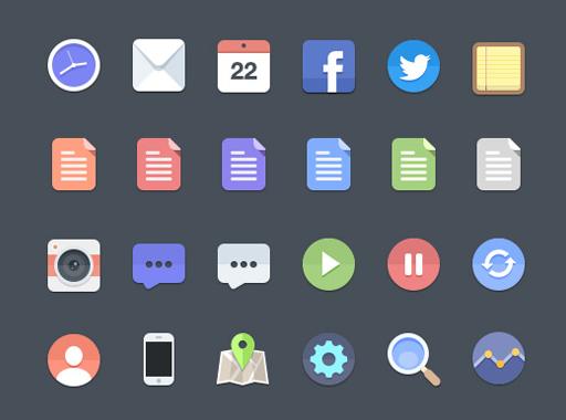 Set of flat UI design icons