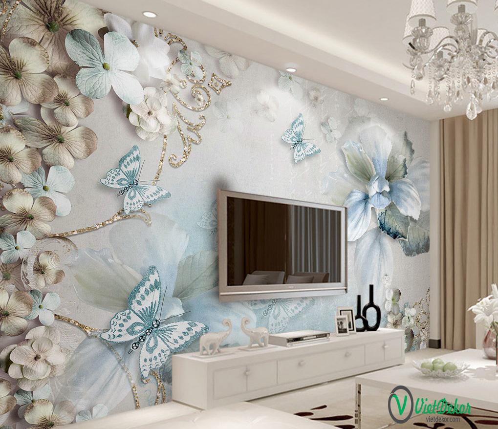 Tranh dán tường 3d hoa bướm phòng ngủ
